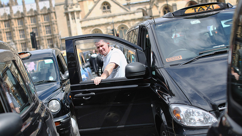 London Taxis Stage Olympic Protest In Westminster